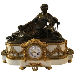 French Figural Gilt Bronze, Patinated Bronze, White Marble 19th Century Clock