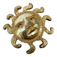 French Figural Radiating Sun Beam Brooch Designed by Barol Paris c 1980s