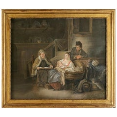 "French Figurative School, Pastel Happy ""Motherhood in Russia"", circa 1790-1810"