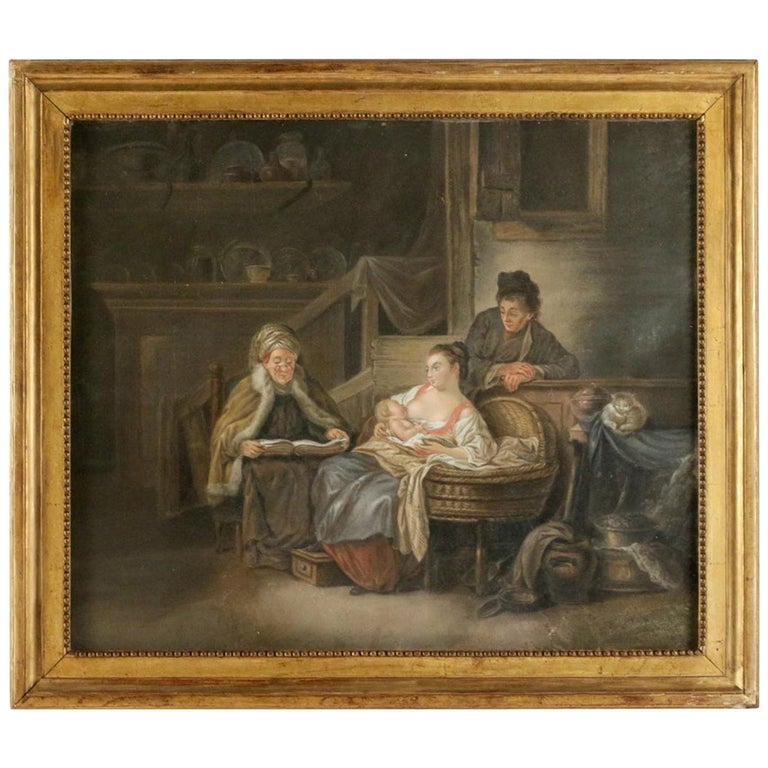 "French Figurative School, Pastel Happy ""Motherhood in Russia"", circa 1790-1810 For Sale"