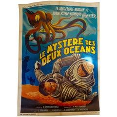 """French Film Poster """"Le Mystère Des 2 Océans"""" on Linen, 1955 Soviet Spa Film"""