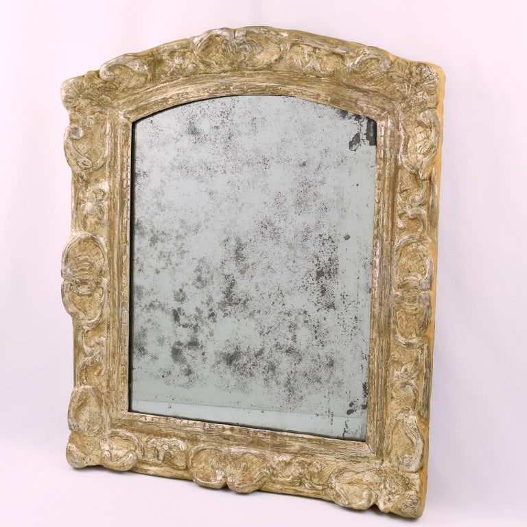 French 17th Century Louis XIV Silver Leaf Mirror In Good Condition For Sale In Atlanta, GA