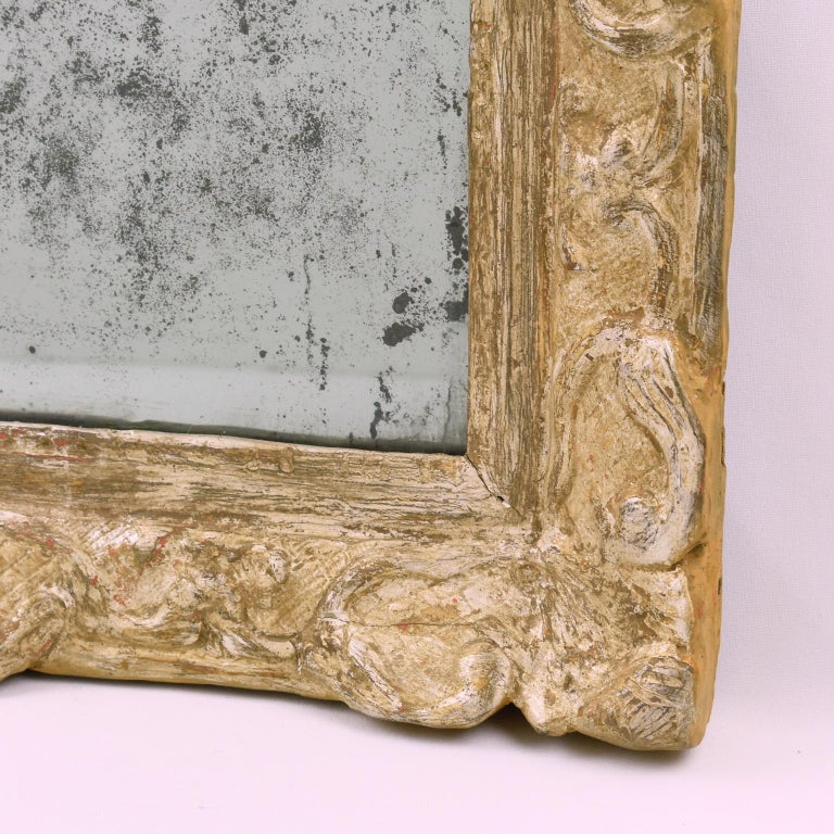 18th Century and Earlier French 17th Century Louis XIV Silver Leaf Mirror For Sale