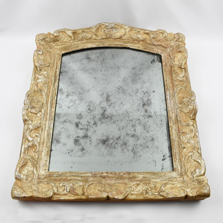 Gesso French 17th Century Louis XIV Silver Leaf Mirror For Sale