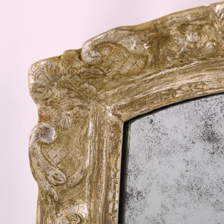 French 17th Century Louis XIV Silver Leaf Mirror For Sale 1