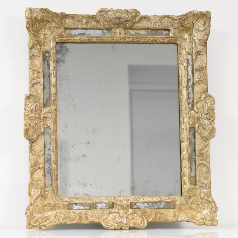 18th Century and Earlier French 17th Century Louis XIV Silver Leaf Parclose Mirror For Sale
