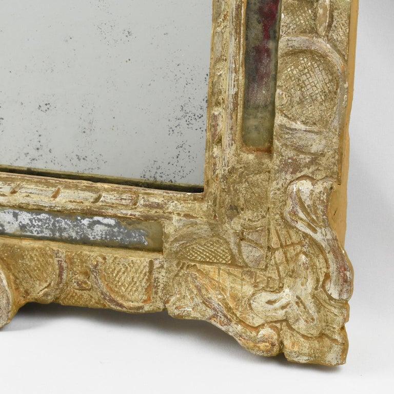 Oak French 17th Century Louis XIV Silver Leaf Parclose Mirror For Sale