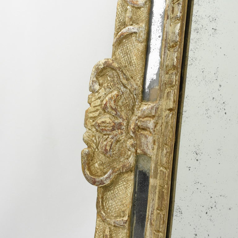 French 17th Century Louis XIV Silver Leaf Parclose Mirror For Sale 2