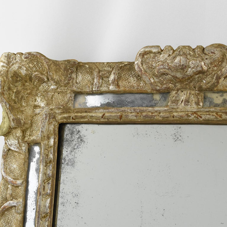 French 17th Century Louis XIV Silver Leaf Parclose Mirror For Sale 3