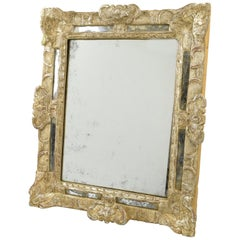 French Fine 17th Century Louis XIV Silver Leaf Carved Oak & Parclose Wall Mirror