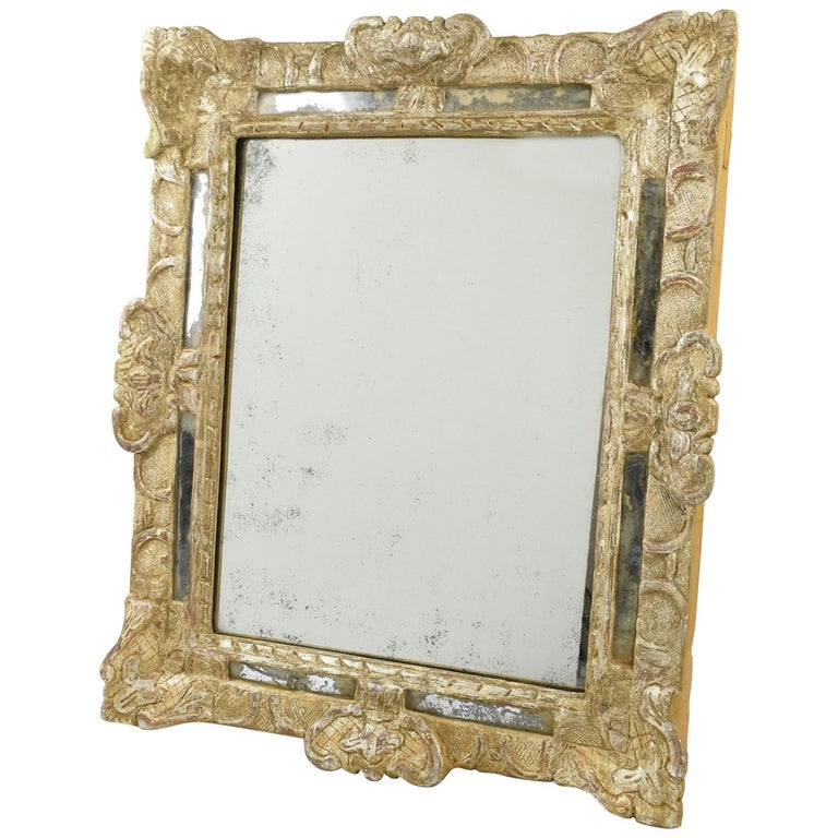 French 17th Century Louis XIV Silver Leaf Parclose Mirror For Sale