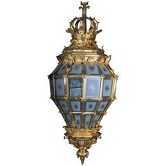 French Fire Gilt Bronze Lantern/Chandelier Versailles Shape
