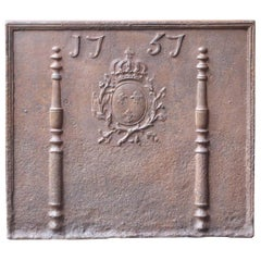 French Fireback with Coat of Arms of France, Dated 1757