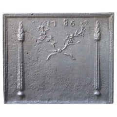French Fireback with Pillars and Olive Branch, Dated 1786