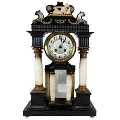 French Fireplace Clock of Marble and Bronze, and Decorated with Ornaments, 1840s