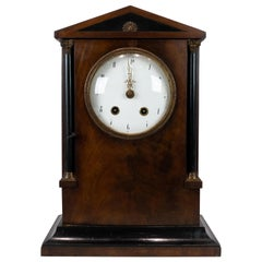 French Fireplace Table Clock in Mahogany from the 1840s