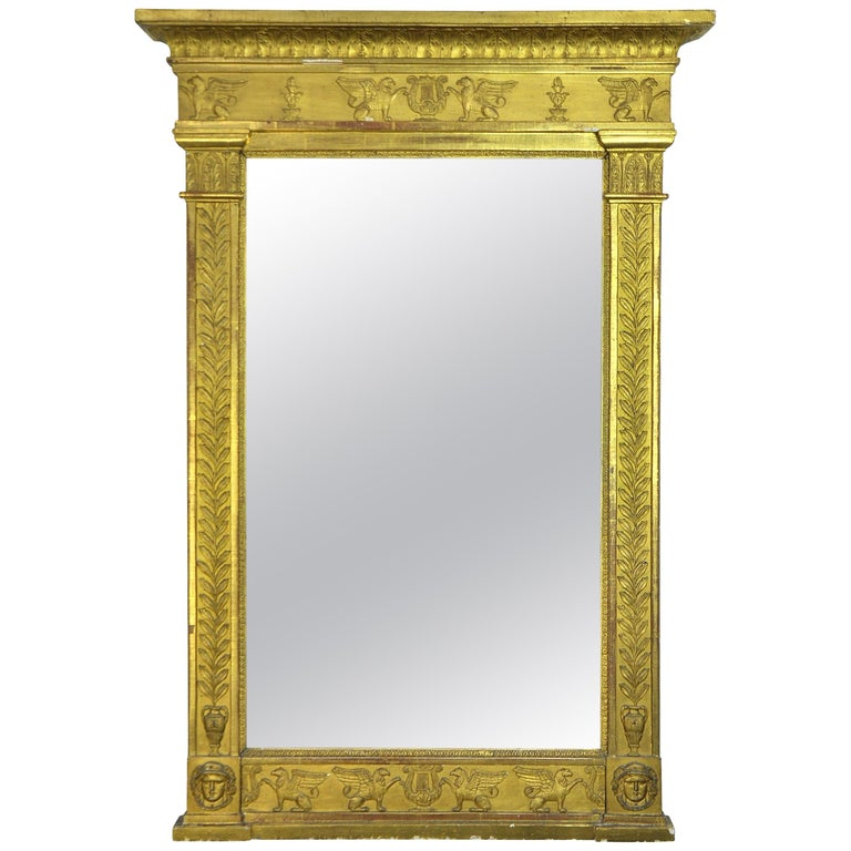 French First Empire Gilt Neoclassical Mirror, Early 19th Century For Sale