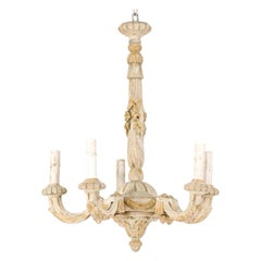 French Five-Light Carved Wood Chandelier with Floral & Foliage Motif, Cute Size