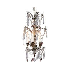 French Five-Light Crystal and Bronze Chandelier with Amethyst Colored Prisms