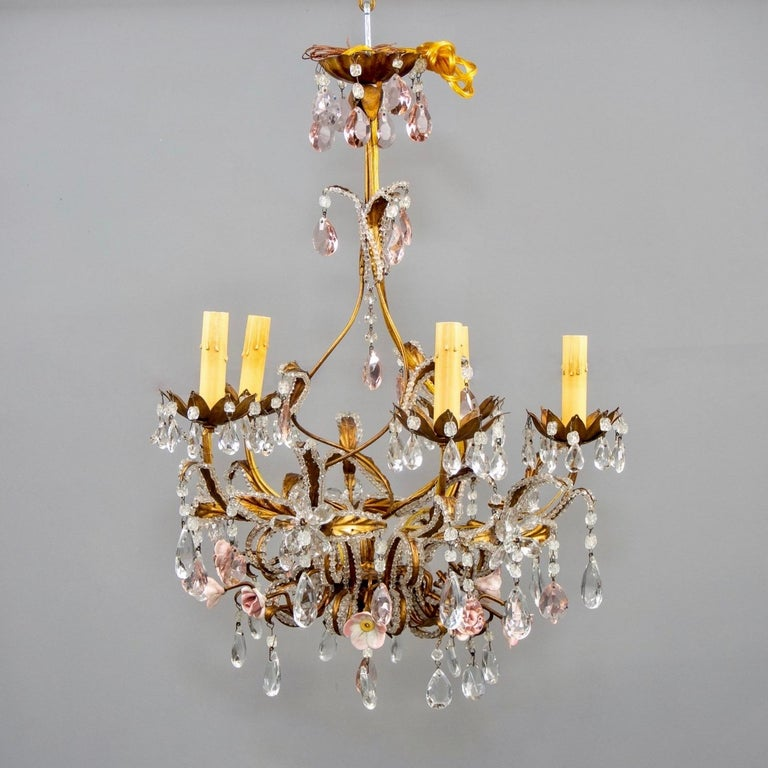 French Five-Light Gilt Metal and Crystal Chandelier with Porcelain Roses In Good Condition For Sale In Troy, MI