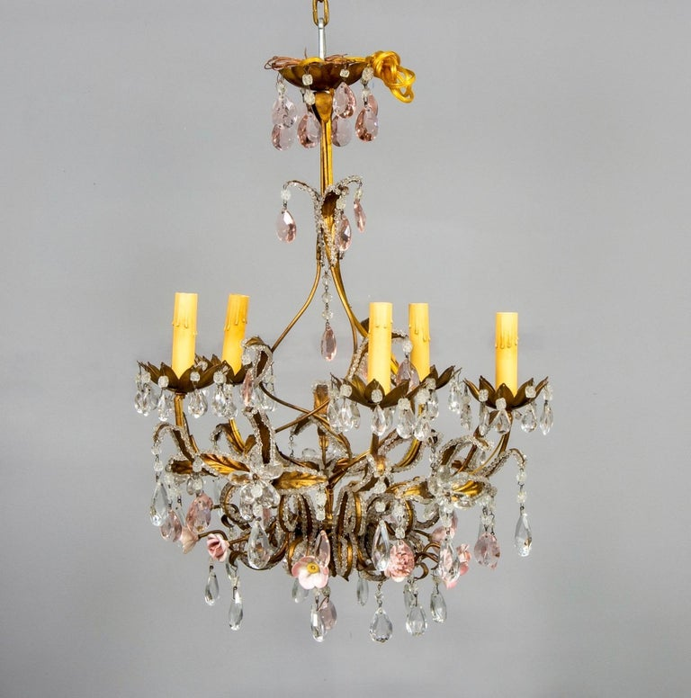 20th Century French Five-Light Gilt Metal and Crystal Chandelier with Porcelain Roses For Sale
