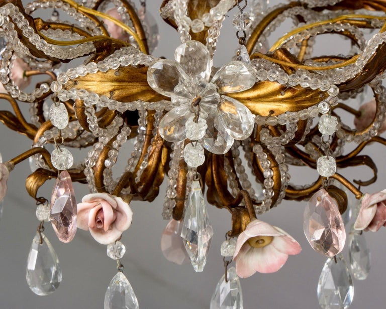 French Five-Light Gilt Metal and Crystal Chandelier with Porcelain Roses For Sale 4