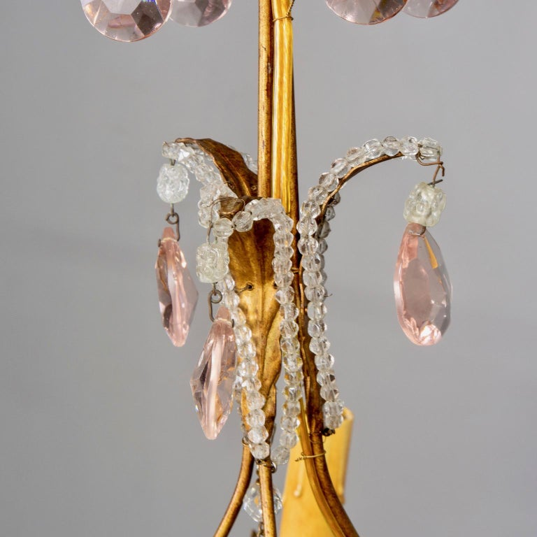 French Five-Light Gilt Metal and Crystal Chandelier with Porcelain Roses For Sale 5