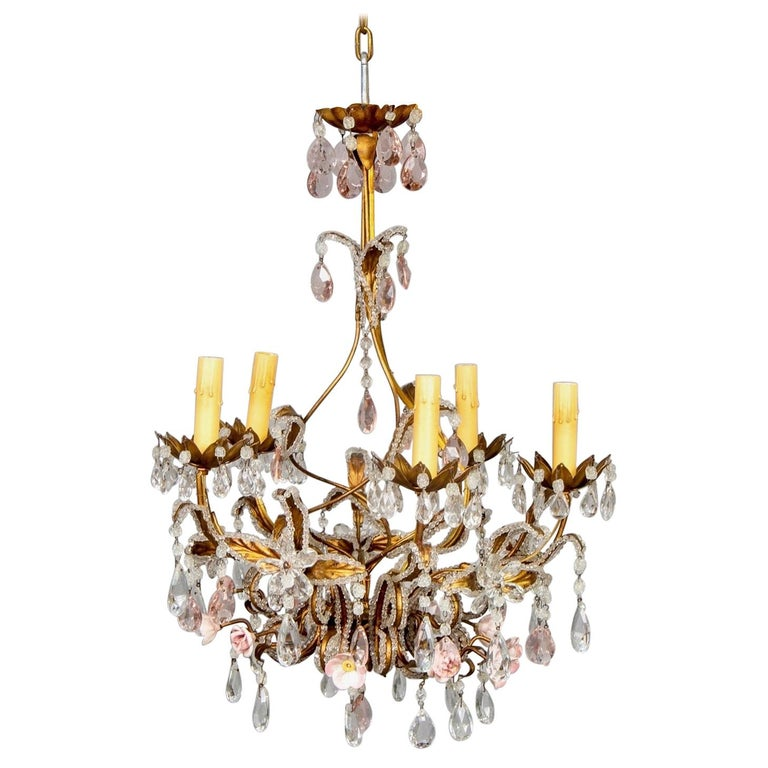 French Five-Light Gilt Metal and Crystal Chandelier with Porcelain Roses For Sale
