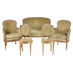 French Five-Piece Carved and Gilt Louis XVI Salon Suite