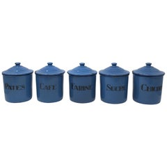 French Five Piece Enamelware Canister Set, circa 1920