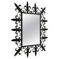 French Fleur-de-Lis Wrought Iron Rectangular Mirror