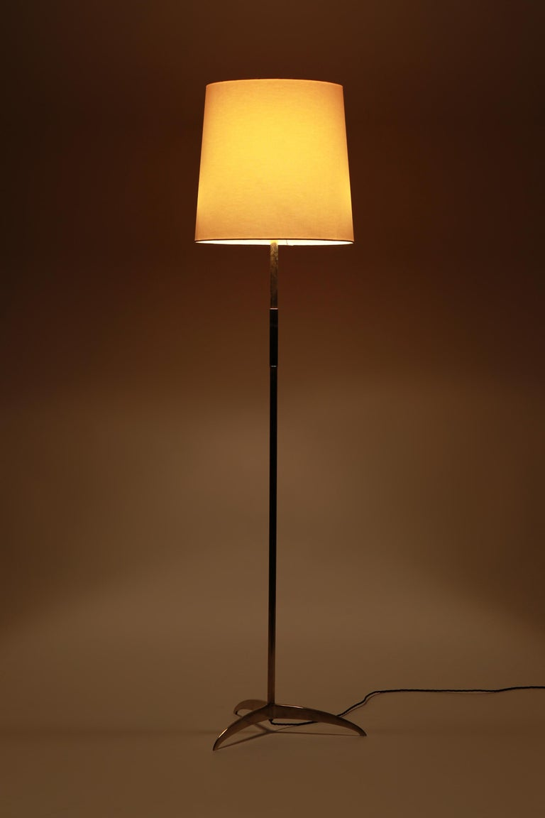 Mid-Century Modern French Floor Lamp Brass Leather Handle, 1950s For Sale