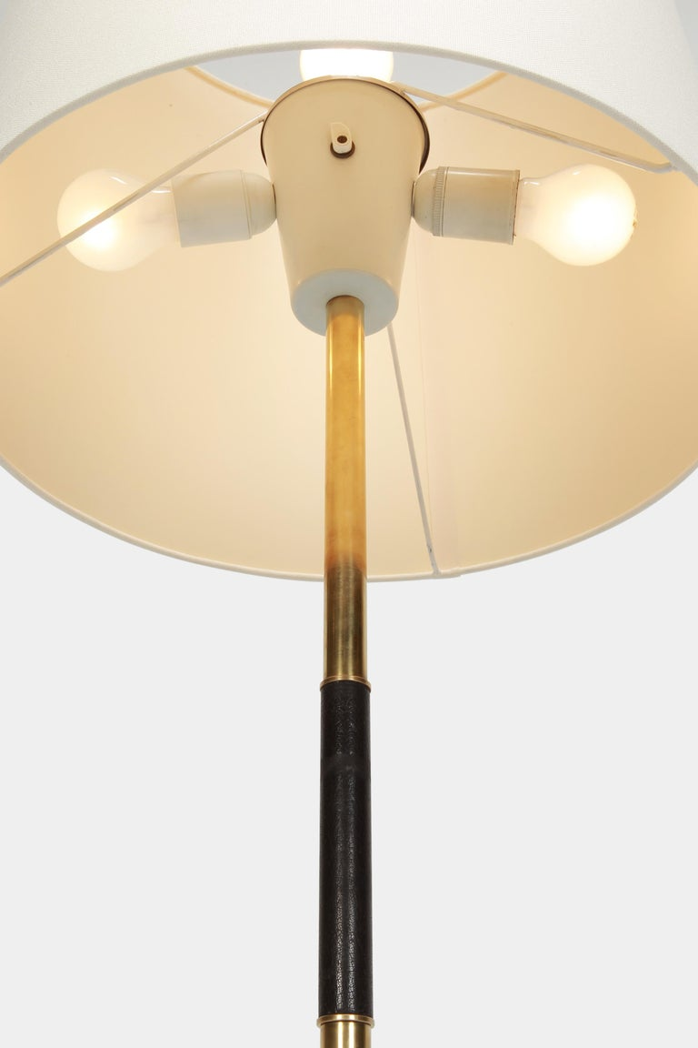 French Floor Lamp Brass Leather Handle, 1950s For Sale 1