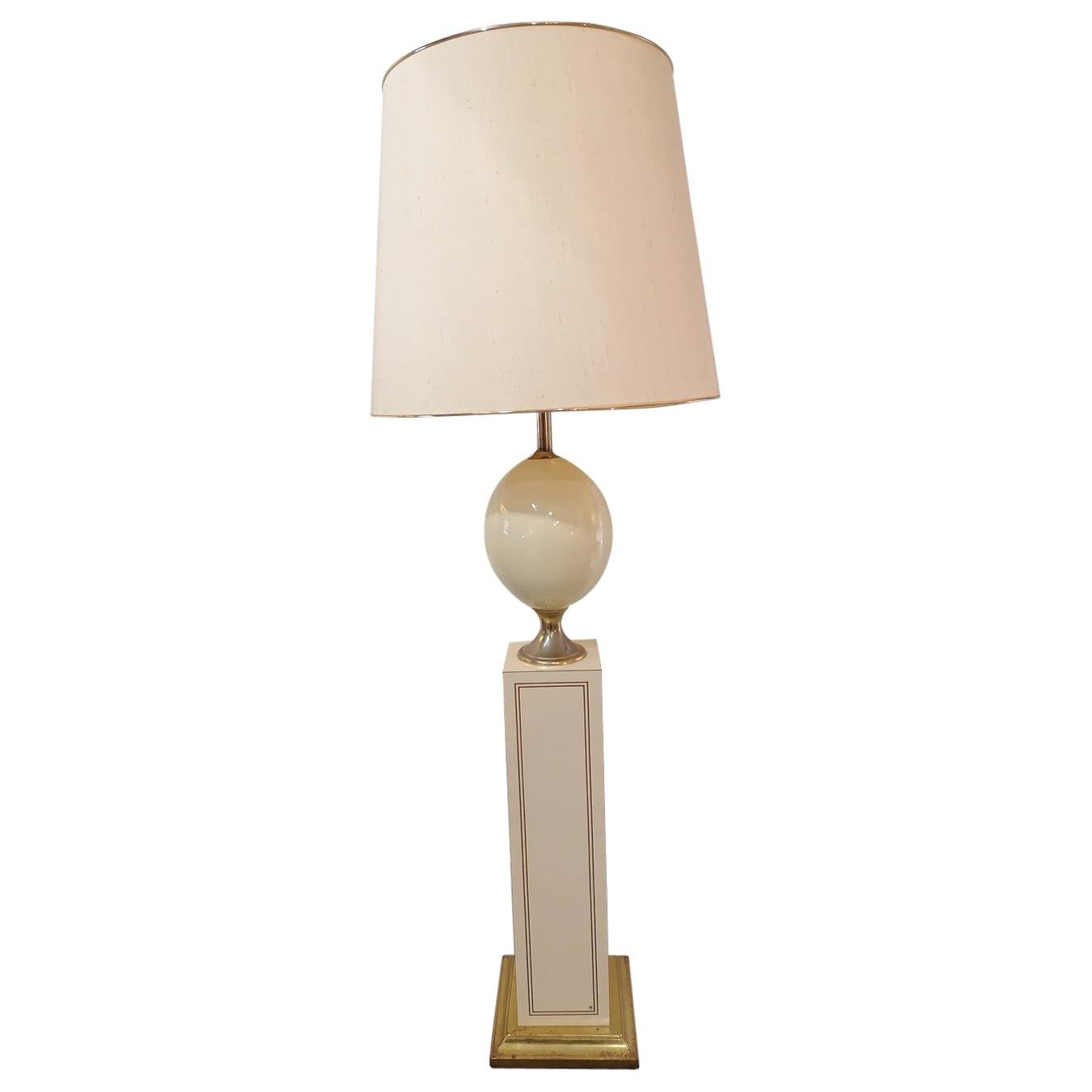 French Floor Lamp Maison Le Dauphin 1980 Lacquer and Brass