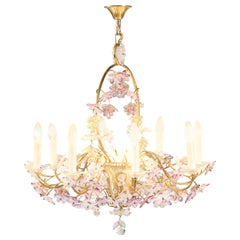 French Floral Amethyst Crystal Chandelier by Maison Baguès, 1950s