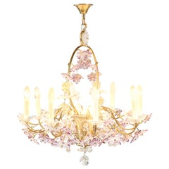 French Floral Amethyst Crystal Chandelier in the style of Maison Baguès, 1950s