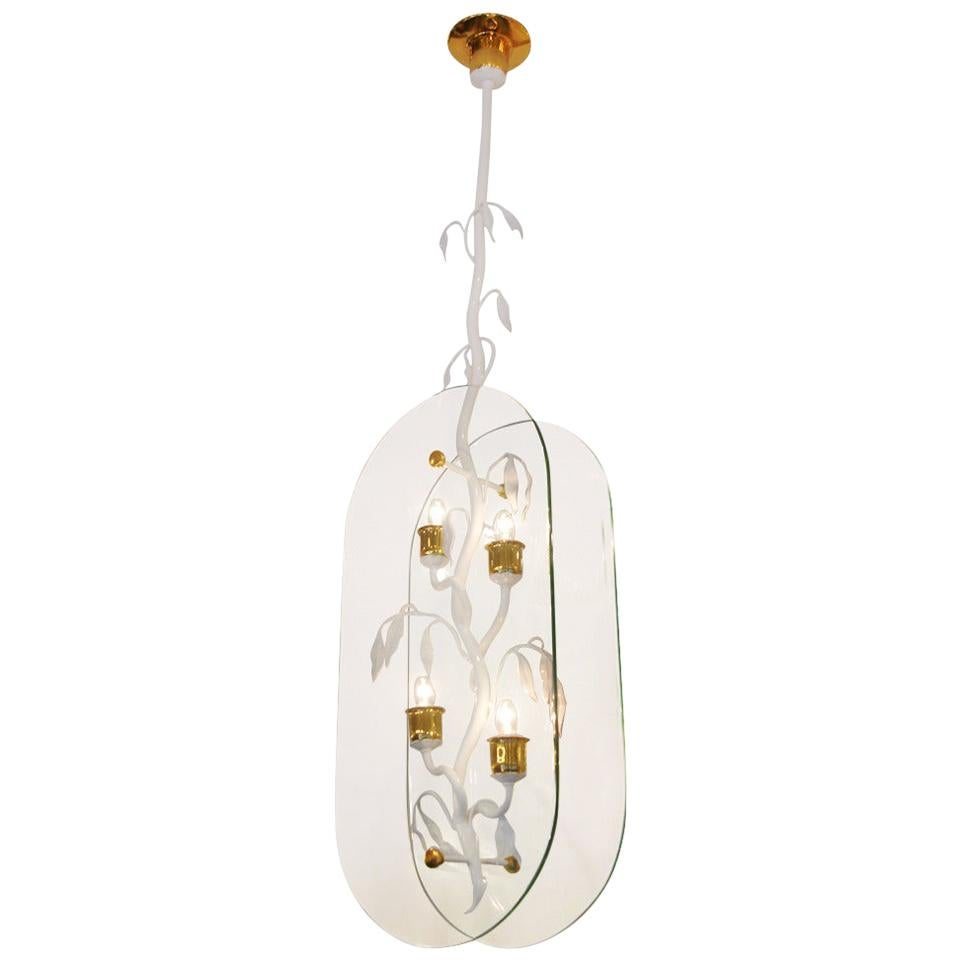 French Floral Branch and Glass Pendant Hanging Light