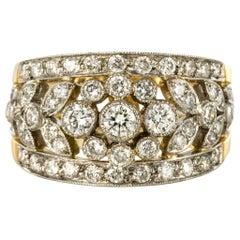 French Floral Motif Diamond 18 Karat Yellow Gold Band Ring