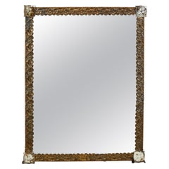 French Floral Motif Framed Mirror