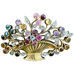 French Flower Basket 18 Karat Gold Brooch Pin