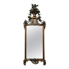 French Flower Basket Mirror, 19th Century