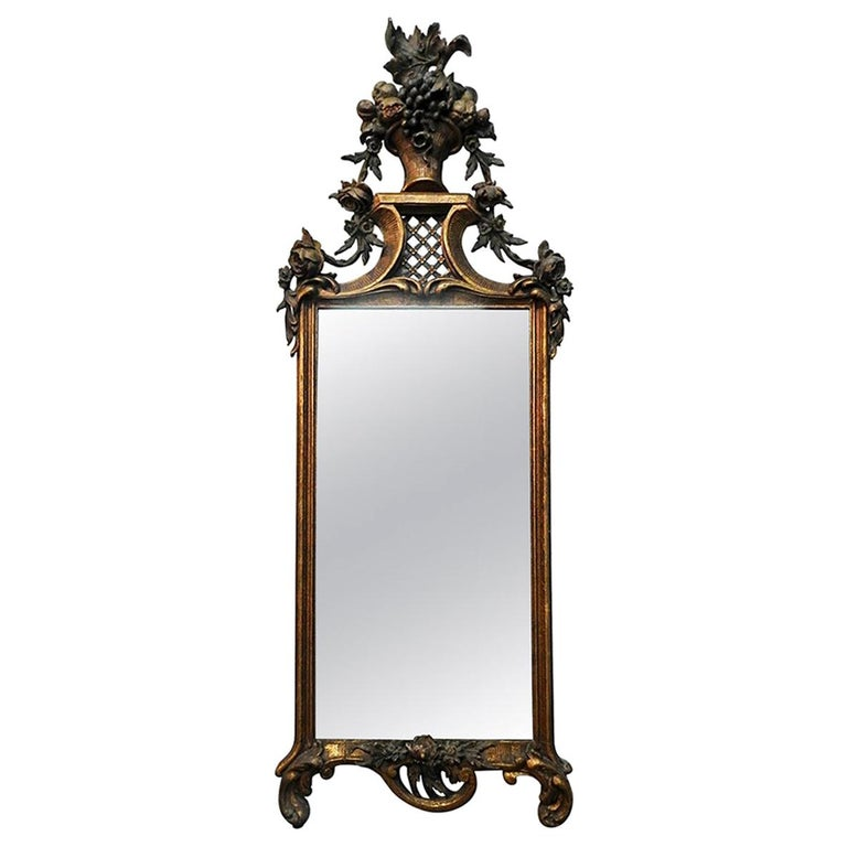 French Flower Basket Mirror For Sale