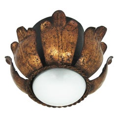 French Flower Bud Flushmount, Black and Gold Leaf Gilt Iron