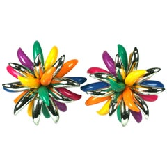 French Flower Spike Large Scale Earclips