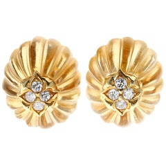 French Fluted Citrine and Diamond Yellow Gold Earrings
