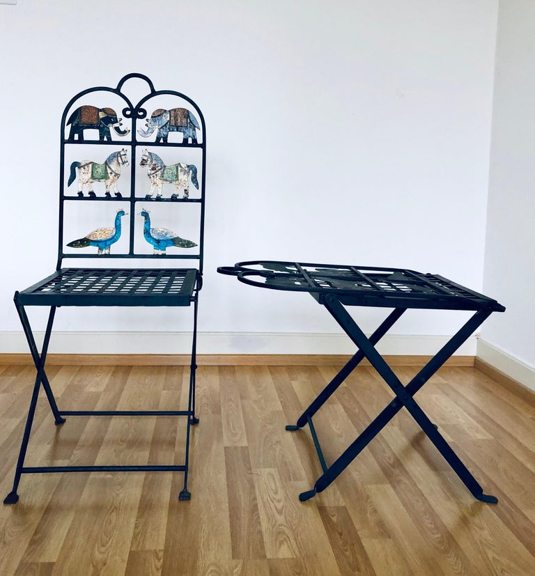 French Foldable Pair of Wrought Iron Garden Chairs with Animals Elephants Horse For Sale 5