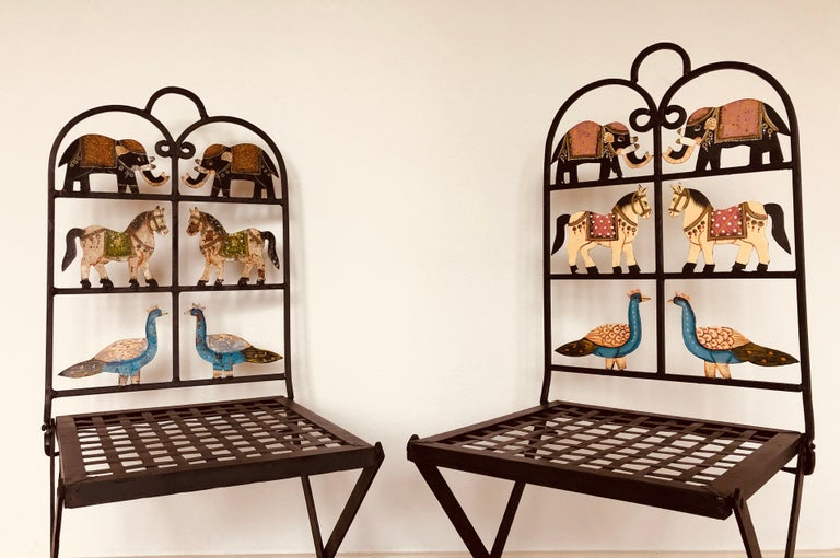 French Foldable Pair of Wrought Iron Garden Chairs with Animals Elephants Horse For Sale 7