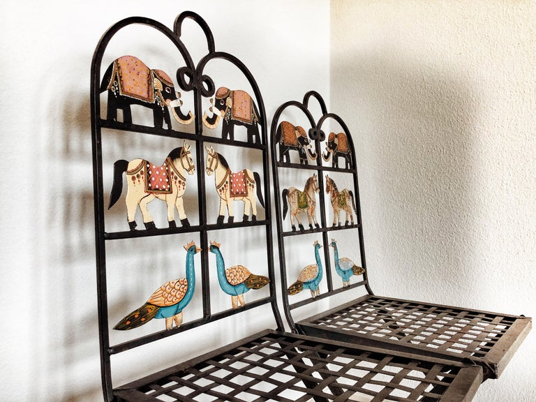French Foldable Pair of Wrought Iron Garden Chairs with Animals Elephants Horse For Sale 8