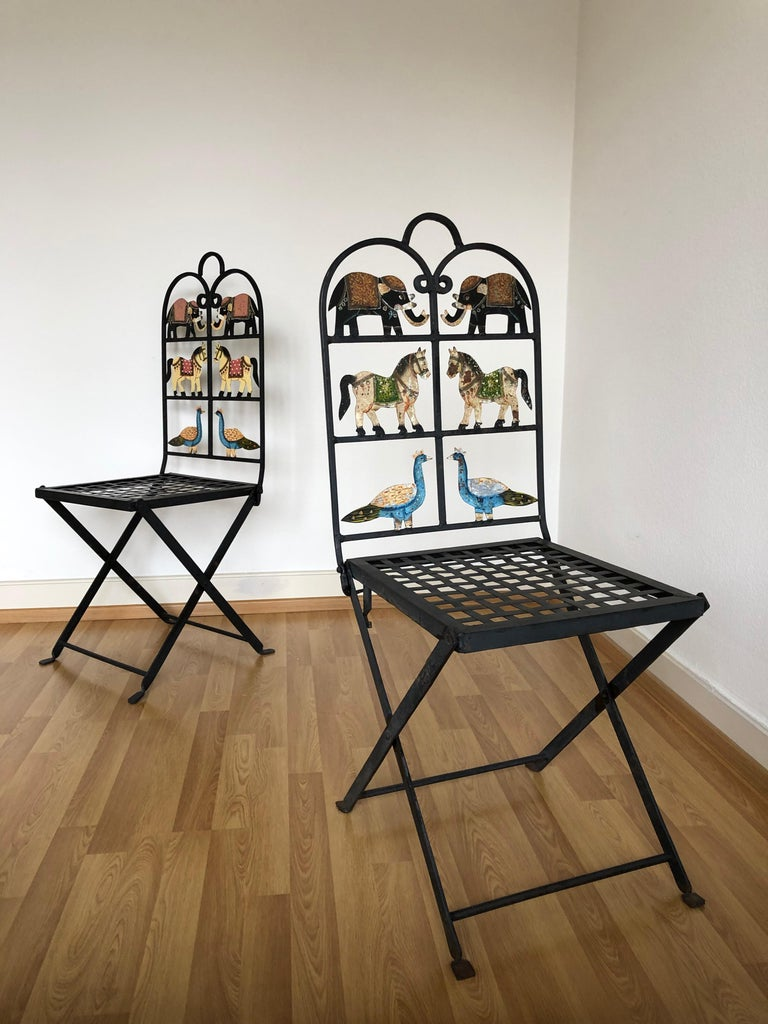 French Foldable Pair of Wrought Iron Garden Chairs with Animals Elephants Horse For Sale 10