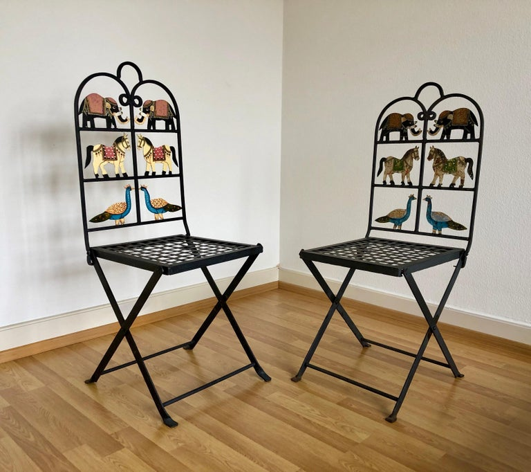Mid-Century Modern French Foldable Pair of Wrought Iron Garden Chairs with Animals Elephants Horse For Sale